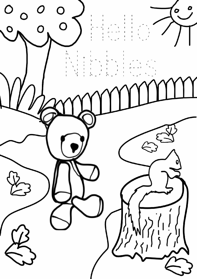 Jolly Jangles Colouring Book - say hello to Nibbles the Squirrel