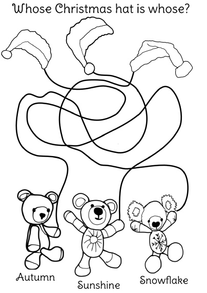 Jolly Jangles Christmas Hats - print this out, colour it in, then work out whose hat is whose!