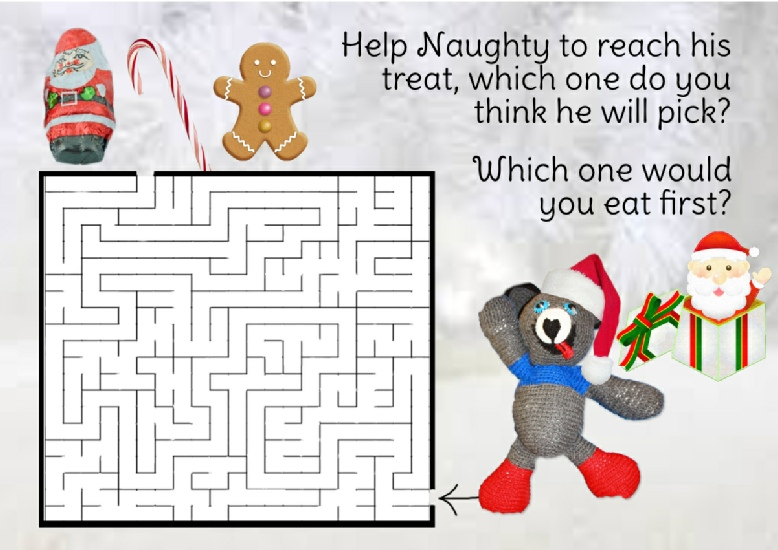 Jolly Jangles Games - print out the Christmas maze so that you can work out how to get to the goodies!