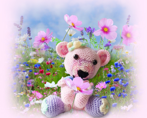 Blossom, one of our loveable crochet teddies from the Jolly Jangle family