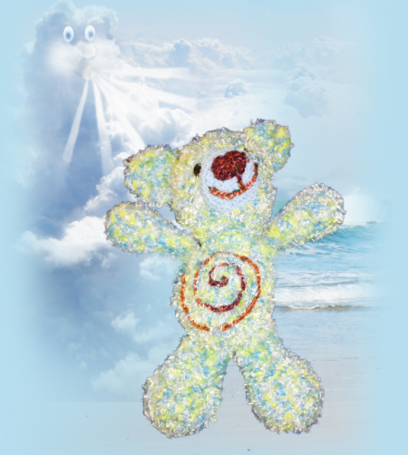 Breeze, one of our loveable crochet teddies from the Jolly Jangle family