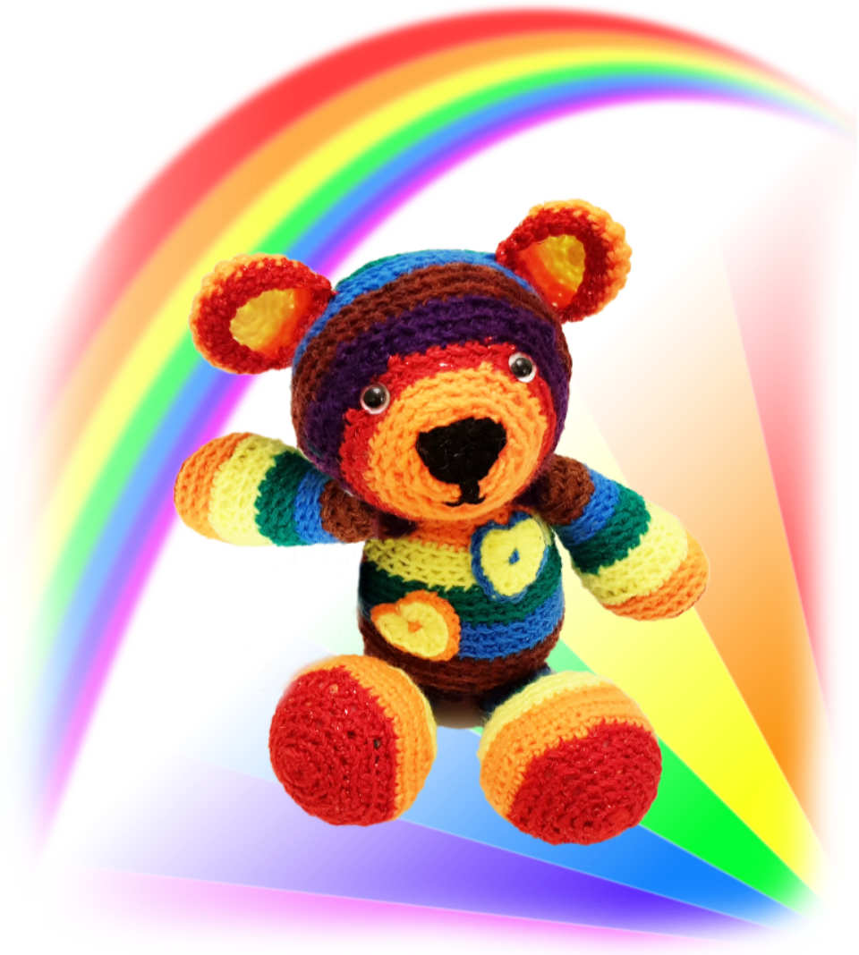 Rainbow, one of our loveable crochet teddies from the Jolly Jangle family