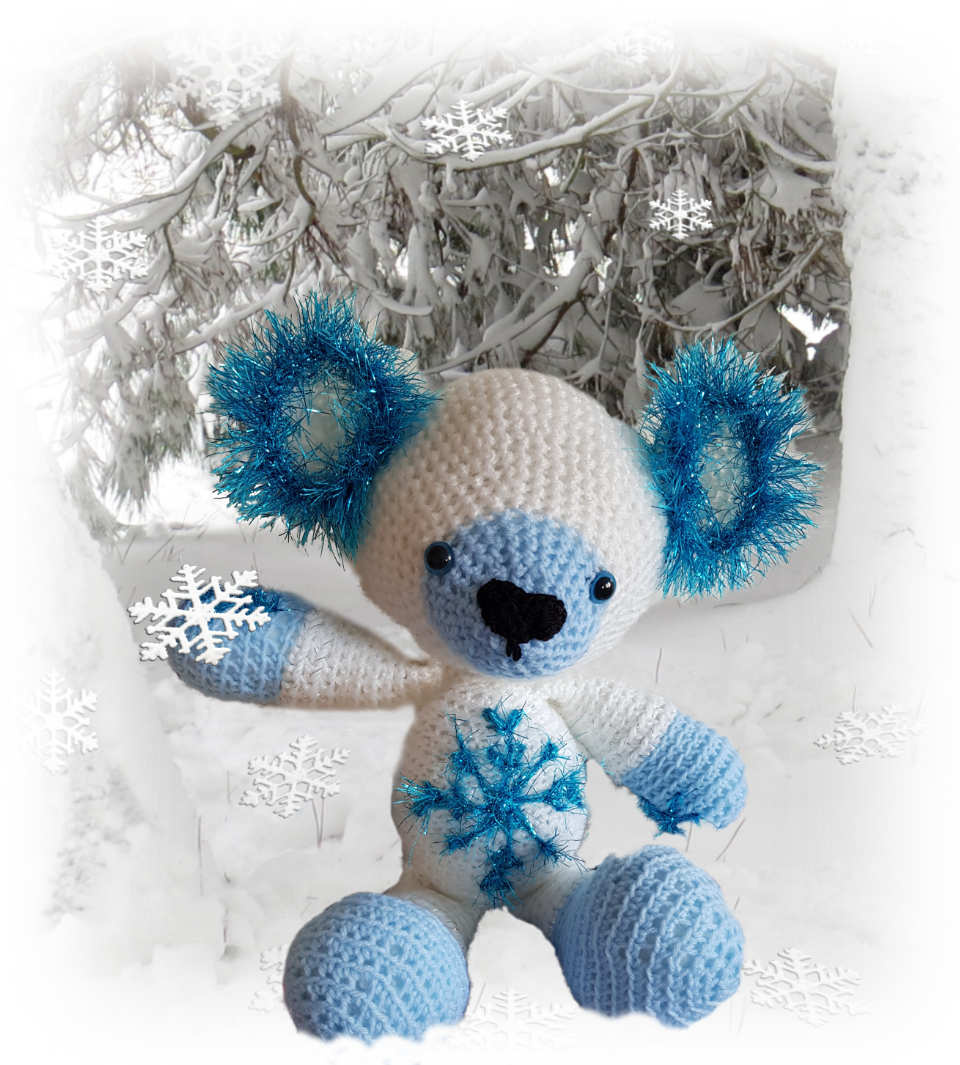 Snowflake, one of our loveable crochet teddies from the Jolly Jangle family