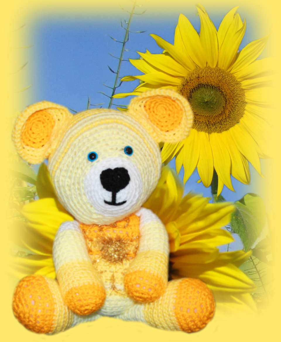 Sunshine, one of our loveable crochet teddies from the Jolly Jangle family